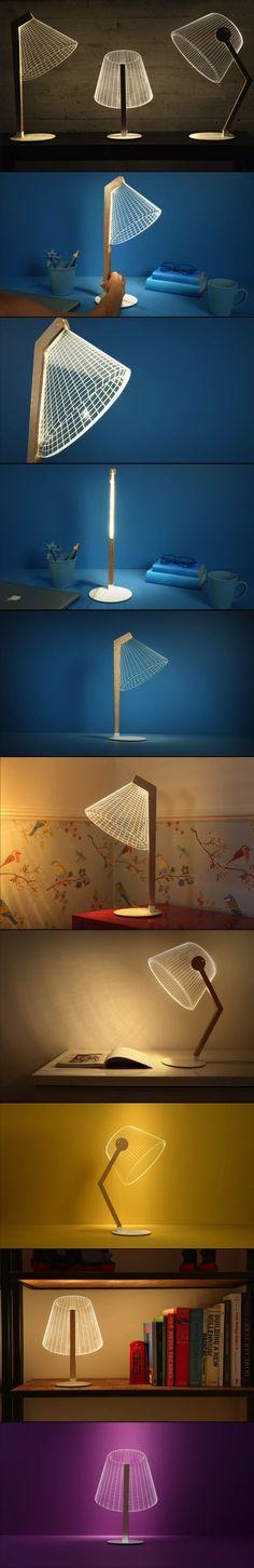 Modern Optical Illusion Lamps by Studio Cheha - Design Milk Interior Lighting, Modern Lighting, Lighting Design, Modern Lamps, 3d Optical Illusions, Luminaire Design, Wooden Lamp, Brass Lamp, 3d Prints