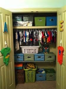 Kid Closet Ideas - Organized Habits. Like the initials on each door for the boys