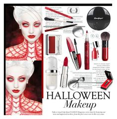 """Boo! Bold Halloween Makeup"" by krischigo ❤ liked on Polyvore featuring bellezza, Smashbox, Kevyn Aucoin, Clinique, Christian Louboutin, Givenchy, Marc Jacobs, Topshop, Stila e MAC Cosmetics"