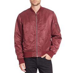 Rag & Bone Long Sleeve Bomber Jacket ($179) ❤ liked on Polyvore featuring outerwear, jackets, apparel & accessories, pocket jacket, fleece-lined jackets, nylon bomber jacket, red bomber jacket and bomber jackets