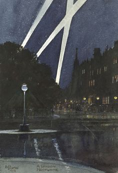 EDWARD JOHN BURROW - A London Nocturne Watercolour, heightened with touches of bodycolour. Signed and dated Ed J Burrow / 1918 and titled A London Nocturne at the lower left and centre. 238 x 164 mm. Nocturne, Music Of The Night, Paintings I Love, South Seas, London Art, London Calling, Landscape Art, Lovers Art, Impressionism