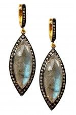 Tribebyamrapali-14K Gold Silver Diamond Labradorite Earrings