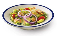 Prepared fresh the moment you order with fresh greens, cucumbers, red onions, grape tomatoes, cheddar cheese and croutons. Bob Evans Recipes, Fast Food Places, Farmhouse Garden, Fresh Green, Restaurant Recipes, Cheddar Cheese, Cobb Salad, Favorite Recipes, Meals