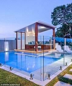 Stunning pool designs of this Melbourne home (left) and Brisbane property (right) also left a lasting impression