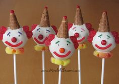 Clown cake pops, love the hats