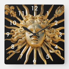 Sun King on Golden gate of Versailles castle Square Wall Clock Holiday Cards, Christmas Cards, Travel Wall Decor, Christmas Card Holders, Versailles, Golden Gate, Clocks, Keep It Cleaner, Lion Sculpture