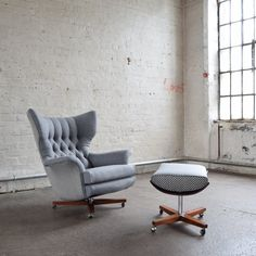 Grey Wool G Plan 6250 Wing Chair Florrie and Bill