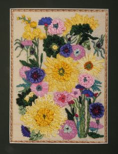 BB Needlepoint Designs BB 36 Sunflowers and Dahlia's - a design done all in silk ribbon.  I just love it. Stitch Guide available