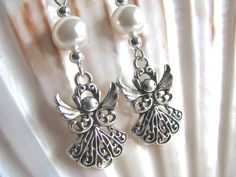 Silver Filigree Angel and White Faux Pearl Long Dangly Earrings - pinned by pin4etsy.com