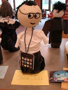 Biography Bottles - Cute idea for biogrpahy book reports. Love this one of Steve Jobs!