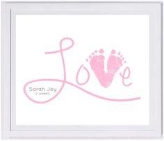 Love Scripty Footprint Wall Art 1500_hand and footprint art, baby footprint keepsake, baby loss, print kit, mom dad grandma grandpa gift