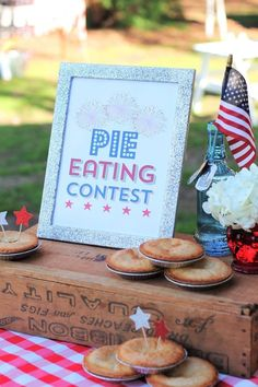 Evite Party Ideas Contributor Sweet Jelly Party of July pie eating contest. 4th Of July Celebration, 4th Of July Party, Fourth Of July, 4th Of July Ideas, Pie Eating Contest, 4. Juli Party, Liberty Party, Redneck Party, Redneck Games