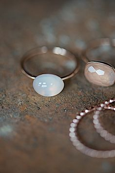 rose gold ring with white moon stone