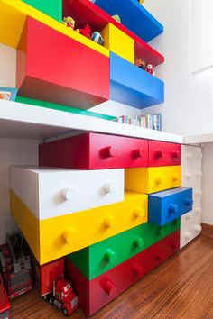 Richard wants a Lego theme bedroom. Mking his dresser drawers look like Lego blocks could be a cute touch.