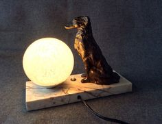 Antique Art Deco lamp. Russian greyhound. French Clichy glassware . Mood lamp.