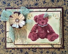 Stampin'up Baby Bear vintage syle card
