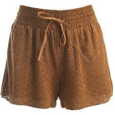 Sans Souci Perforated vegan suede  shorts ($25) ❤ liked on Polyvore featuring shorts, camel, elastic waistband shorts, draw string shorts, sans souci, drawstring shorts and vegan leather shorts