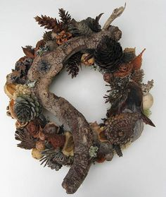 Winter Cone and Dried Seed Pod WreathPW16 by BeacheryDesigns