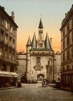 Sevigne Gate, Bordeaux, France  Created in 1905 as a hand colored photochrom.