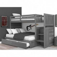 Sandberg bunk bed with trundle bed - bunk beds Bunk Beds For Boys Room, Bunk Bed Rooms, Bed For Girls Room, Bunk Bed With Trundle, Bunk Beds With Stairs, Kid Beds, Full Size Bunk Beds, Boy Bunk Beds, Bunk Bed Ideas For Small Rooms