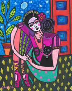 Mexican Folk Art Black Cat Frida Kahlo by HeatherGallerArt on Etsy, $28.00