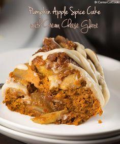 Pumpkin Apple Spice Cake with Cream Cheese Glaze!