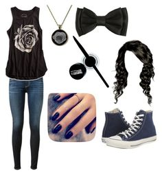 """""""black"""" by magy662520 ❤ liked on Polyvore featuring Converse, AG Adriano Goldschmied, Lucky Brand, Maybelline and Lottie"""