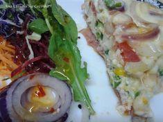 Fritada de Ovos a Portuguesa Carne, Cake Recipes, Tacos, Low Carb, Pizza, Rice, Eggs, Chicken, Meat