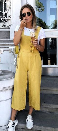 a3abb740bce7 Casual Outfit Inspiration Yellow Jumpsuit Plus White Tee Plus Sneakers  Dress And Sneakers Outfit