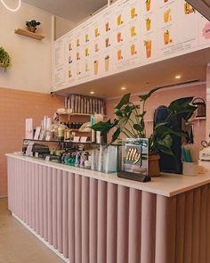 Open a bubble tea pop-up store Tea Design, Cafe Design, Store Design, Coffee Shop Interior Design, Coffee Shop Design, Tea Bar Menu, Hipster Cafe, Pastell Party, Bubble Tea Shop