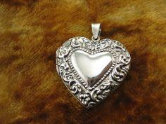 Vintage Sterling Silver Pendant  Heart Locket by Worldwideoddities, $60.00