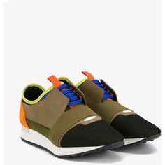 Balenciaga Balenciaga Race Runner Sneakers ($665) ❤ liked on Polyvore featuring men's fashion, men's shoes, men's sneakers, colorful mens shoes, mens leather sneakers, balenciaga mens shoes, balenciaga mens sneakers and mens leather shoes