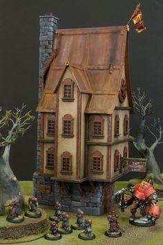 Very cool looking miniature model inn built for Warmachine. #NerdAlert