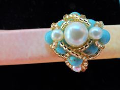 Pearl and Turquoise beaded ring! Made with Love for my Mom for her 67th Birthday!!