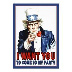 Patriotic Party Invitation: Vintage Uncle Sam                              …
