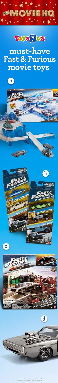 If you're looking for must-have Fast & Furious toys, check out these sweet rides that'll get your heart racing. Get the toys, see the movie!  a. Fast & Furious Street Scenes Frozen Missile Attack Play Set  (131471); b. Fast & Furious Ultimate Performance Pack (804064) c. Fast & Furious Off-Road Octane Pack  1:55 scale Diecast Play Set with 1970 Dodge Charger (856684); d. Fast & Furious 1:24 scale Dom's 1970 Dodge Charger Diecast Car (016865). #TRUMovieHQ