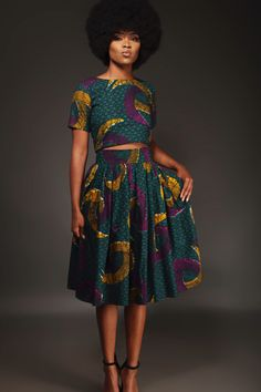 From cocktails to casual outings, dazzle in the reversible Tinaye Crop-top and Midi skirt. Find the latest in African-inspired fashion at Kuwala. - From cocktails to casual outings, dazzle in the reversible Tinaye Crop-top and Midi skirt. African Fashion Designers, African Inspired Fashion, Latest African Fashion Dresses, African Print Fashion, Africa Fashion, Ankara Fashion, Fashion Outfits, Fashion Ideas, African Print Clothing