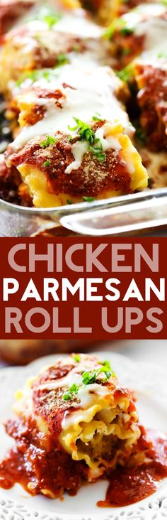 Chicken Parmesan Roll Ups. Breaded Chicken and seasoned Parmesan Cream Cheese rolled up into lasagna noodles and covered in a delicious homemade marinara sauce. This dinner will quickly become a new (Baking Chicken Parmesan) Pasta Recipes, Chicken Recipes, Dinner Recipes, Cooking Recipes, Lasagna Recipes, Parmesan Recipes, Casserole Recipes, Lasagna Noodles, Chicken Lasagna
