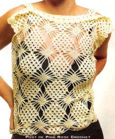 AS RECEITAS DE CROCHÊ: Blusa de Crochê ponto em Losangos