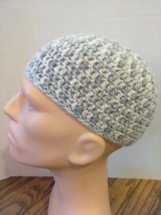 Grey, and white kufi beanie skullcap crochet medium by Nadeerah on Etsy