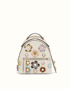 712dce167a32 FENDI BACKPACK - in white leather with flowers - view 1 detail Fendi  Backpack
