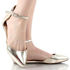 Dolley-41 Metallic Champagne D'Orsay Pointy Toe Flats–SALE! $20
