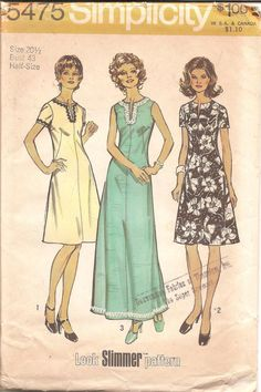1970s Womens Dress  Simplicity 5475 Vintage Pattern by ErikawithaK