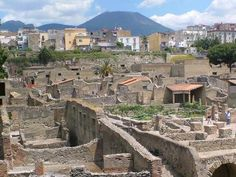 Herculaneum was, to the compare to Pompeii, covered by the molten stone conglomerate known as lava flows. Description from capritravelguide.com. I searched for this on bing.com/images