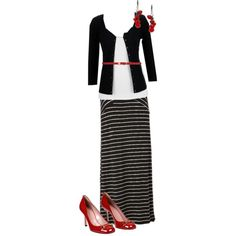 Black maxi skirt outfit, created by stephfee on Polyvore