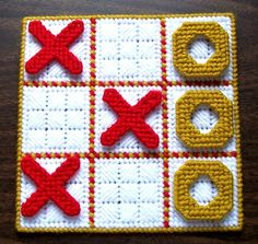TicTacToe Game Gold Red and White by gailscrafts on Etsy