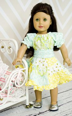 """Create Kids Couture Noel's Patchwork Peasant Dress PDF Sewing Pattern for 15"""" and 18"""" dolls!"""