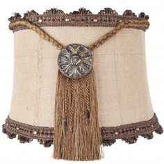 Brandi Renee Designs - All Lit Up Outback 1 Lampshade - Rustic burlap with gold medallion fringed centerpieces and bronze scalloped ribbon.