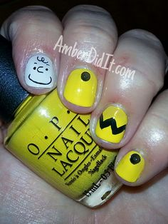 Amber did it!: Good Grief Charlie Brown nail art
