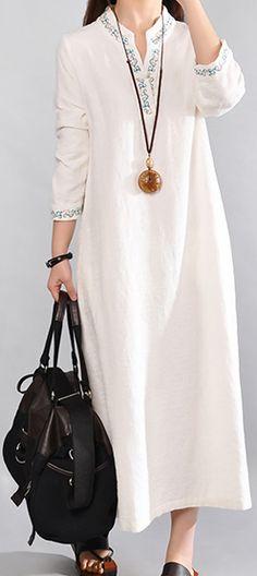 New white long linen dresses casual v neck cotton dresses vintage embroidery linen dress
